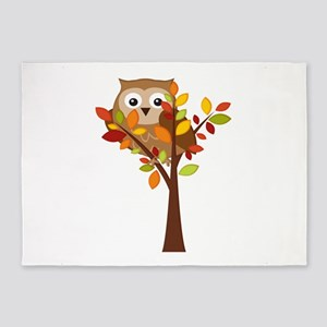Cute Owl in Autumn Tree 5'x7'Area Rug