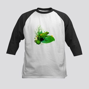 Bright Green Frog and Lily Pad in Baseball Jersey