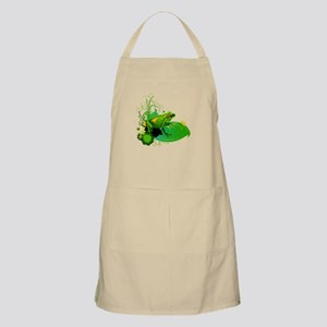 Bright Green Frog and Lily Pad in Pond Apron