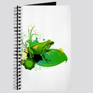 Bright Green Frog and Lily Pad in Pond Journal