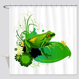 Bright Green Frog and Lily Pad in P Shower Curtain
