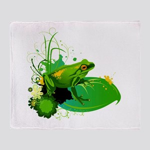 Bright Green Frog and Lily Pad in Po Throw Blanket