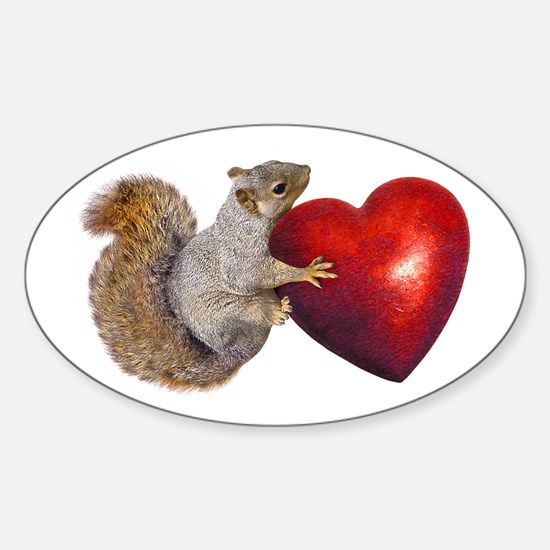 Squirrel Big Red Heart Decal