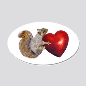 Squirrel Big Red Heart Wall Decal