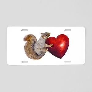 Squirrel Big Red Heart Aluminum License Plate