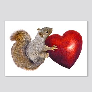 Squirrel Big Red Heart Postcards (Package of 8)