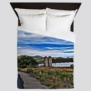 Barn and Trees Portrait Queen Duvet
