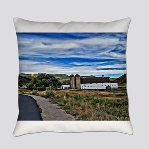 Barn and Trees Portrait Everyday Pillow