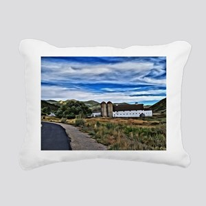 Barn and Trees Portrait Rectangular Canvas Pillow