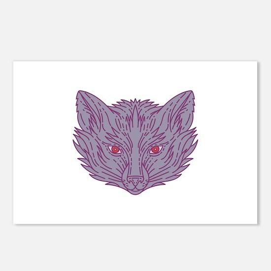 Fox Head Mono Line Postcards (Package of 8)