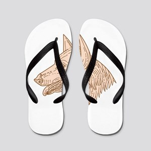 German Shepherd Dog Head Mono Line Flip Flops