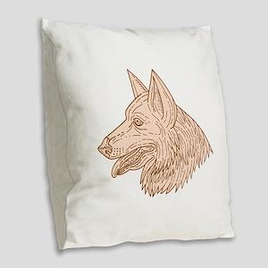 German Shepherd Dog Head Mono Line Burlap Throw Pi