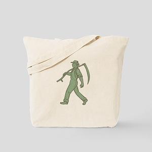 Organic Farmer Scythe Walking Mono Line Tote Bag