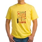 Love Words and Hearts Yellow T-Shirt