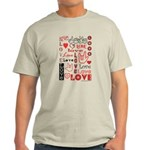 Love Words and Hearts Light T-Shirt