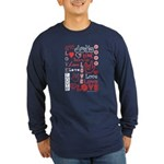 Love Words and Hearts Long Sleeve Dark T-Shirt