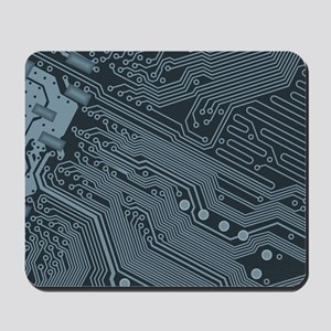 Gray Circuit Board Illustration Mousepad