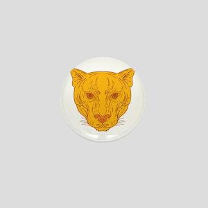 Cougar Mountain Lion Head Mono Line Mini Button