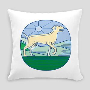 English Pointer Dog Mono Line Everyday Pillow
