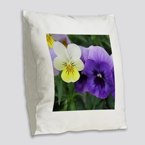 Italian Purple and Yellow Pansy Flowers Burlap Thr