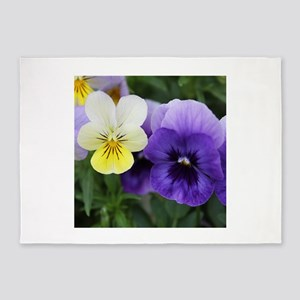 Italian Purple and Yellow Pansy Flowers 5'x7'Area