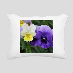 Italian Purple and Yellow Pansy Flowers Rectangula