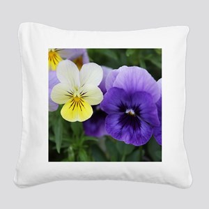 Italian Purple and Yellow Pansy Flowers Square Can