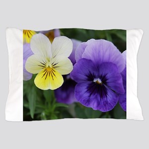 Italian Purple and Yellow Pansy Flowers Pillow Cas