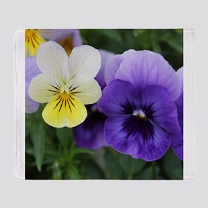 Italian Purple and Yellow Pansy Flowers Throw Blan