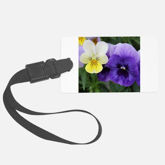 Italian Purple and Yellow Pansy Flowers Luggage Ta