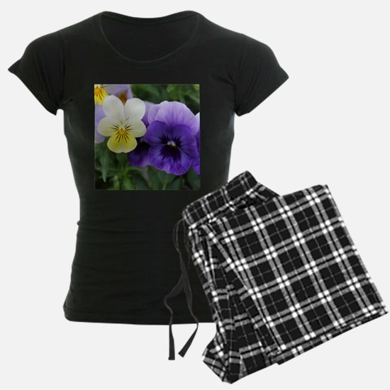 Italian Purple and Yellow Pansy Flowers Pajamas