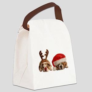 Funny Bulldog Christmas Canvas Lunch Bag