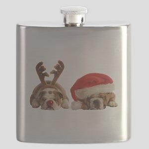 Funny Bulldog Christmas Flask