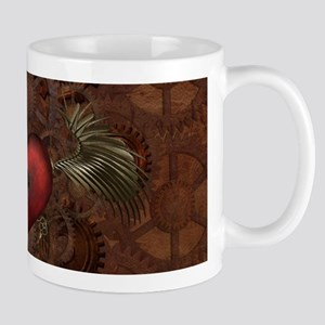 Awesome Steampunk Heart With Wings Mugs