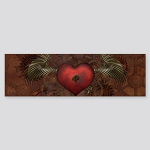 Awesome Steampunk Heart With Wings Bumper Sticker