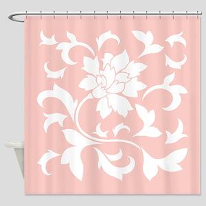 Oriental Flower - Rose Quartz Shower Curtain