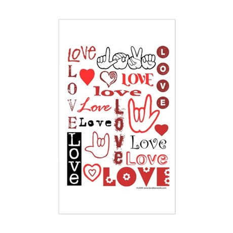 Love Words and Hearts Rectangle Sticker