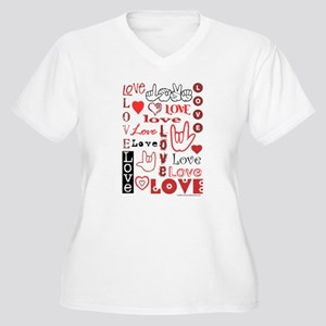 Love Words and Hearts Women's Plus Size V-Neck T-S