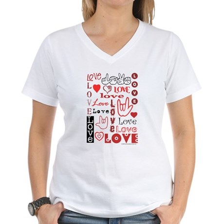 Love Words and Hearts Women's V-Neck T-Shirt