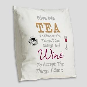 Tea and Wine Burlap Throw Pillow