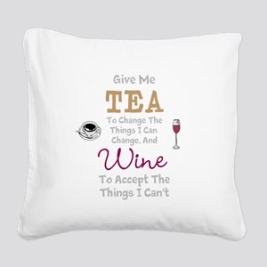Tea and Wine Square Canvas Pillow
