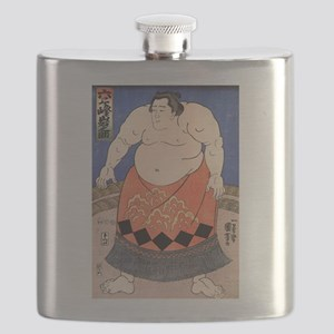 Japanese Art Kuniyoshi Utagawa The Sumo Wres Flask