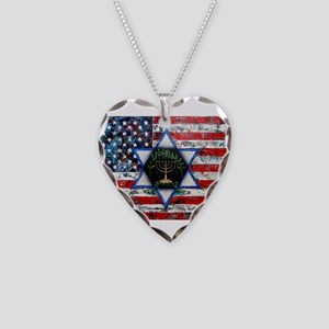 United With Israel Necklace Heart Charm