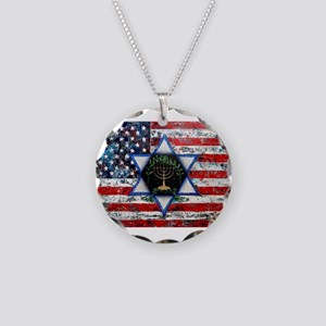 United With Israel Necklace Circle Charm