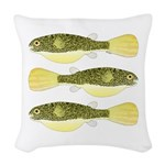 Mbu Giant Freshwater Puffer fish Woven Throw Pillo