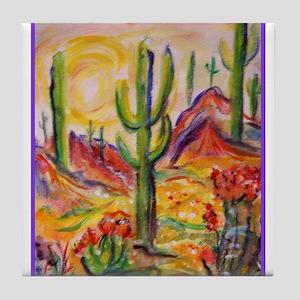 Saguaro Cactus Desert Southwest Art Tile Coaster
