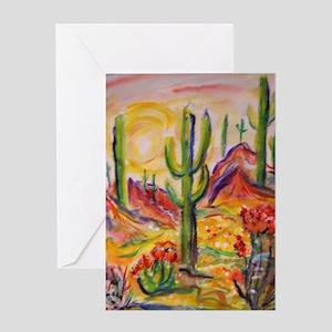 Saguaro Cactus, desert Southwest art! Greeting Car