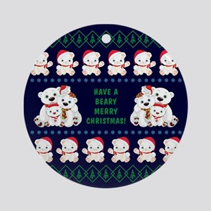BEARY MERRY CHRISTMAS Round Ornament