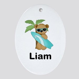 Liam's Surfer Bear Oval Ornament