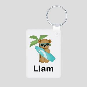 Liam's Surfer Bear Aluminum Photo Keychain
